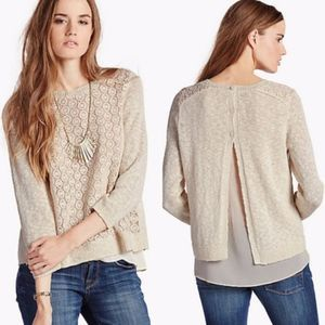 Lucky Brand Mixed Media Pullover Sweater Overlay S